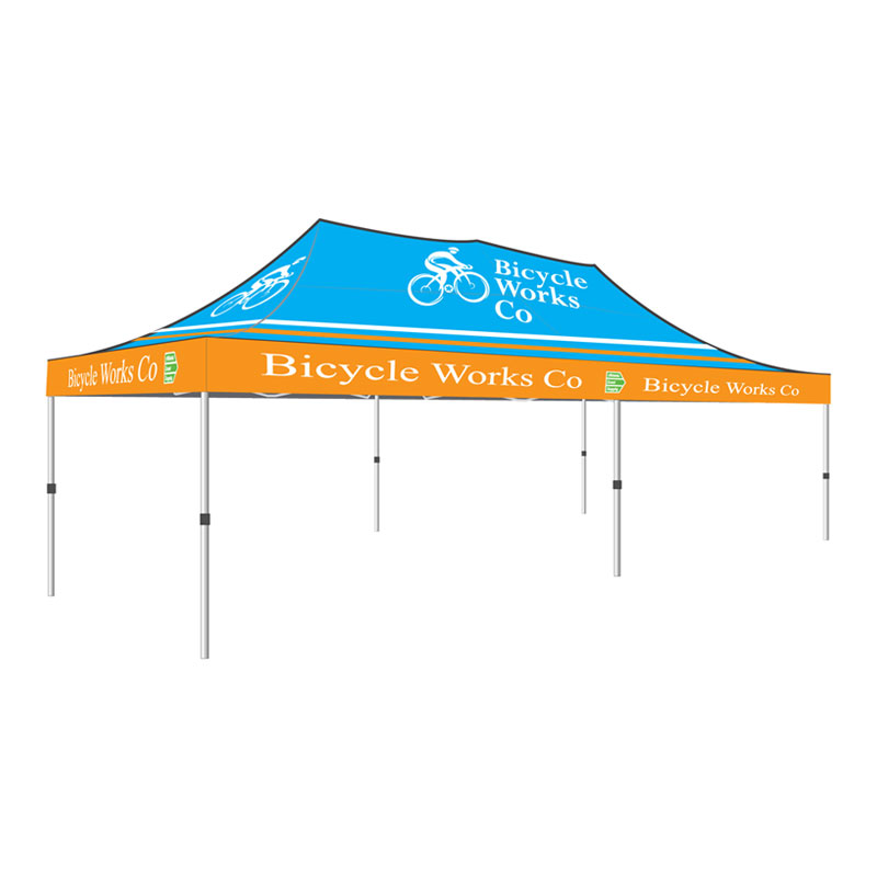 10\' x 20\' Canopy Tent, Steel Hex Frame, Full Print Roof - Athletic ...